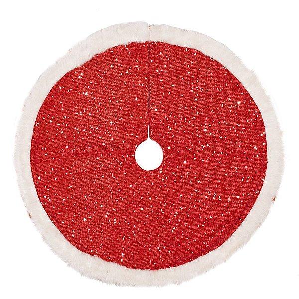 Saia de Árvore Vermelha com Borda de Pelúcia 90cm - 01 unidade - Cromus Natal - Rizzo Embalagens