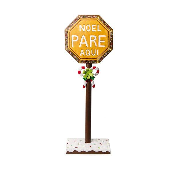 Placa Decorativa com Led Noel Pare Aqui 90cm - 01 unidade - Cromus Natal - Rizzo Embalagens