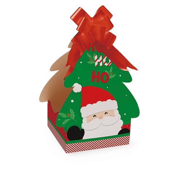 Caixa Panetone Árvore Noel Ho Ho Ho para Panetone 100g - 10 Unidades - Cromus Natal - Rizzo Embalagens