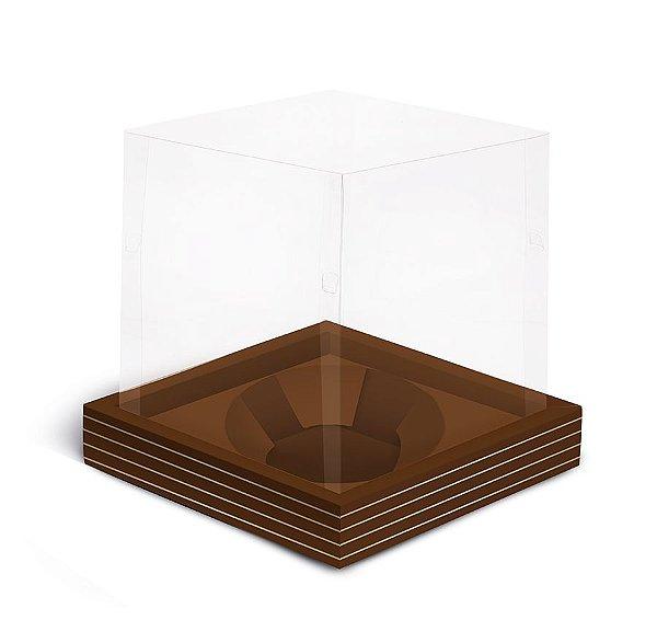 Caixa para Mini Panetone 80g 11x11x11cm Marrom Listras Ouro - 12 unidades - Cromus Natal - Rizzo Embalagens