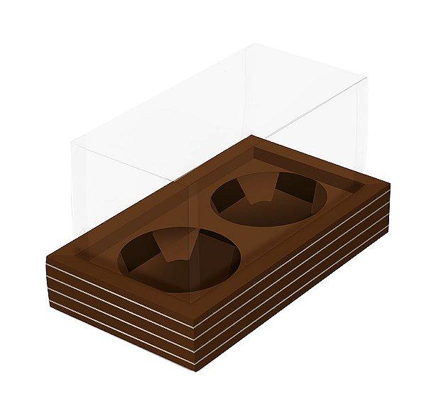 Caixa para 2 Mini Panetones 80g 20x11x11cm Marrom Listras Ouro - 12 unidades - Cromus Natal - Rizzo Embalagens