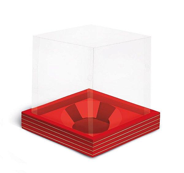 Caixa para Mini Panetone 80g 11x11x11cm Vermelho Listras Ouro - 12 unidades - Cromus Natal - Rizzo Embalagens