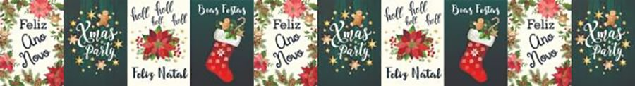 Cinta para Panetone G Feliz Natal e Ano Novo 03 unidades - Erika Melkot - Rizzo Embalagens