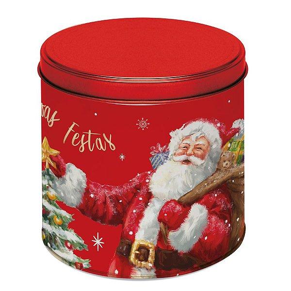 Lata para Panetone 500g Papai Noel - 01 unidade - Cromus Natal - Rizzo Embalagens