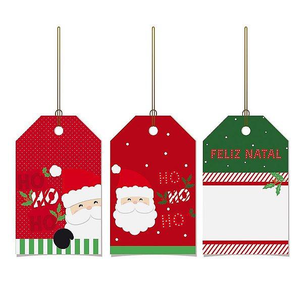 Tags De Para com cordão - Ho Ho Ho - 12 unidades - Cromus Natal - Rizzo Embalagens