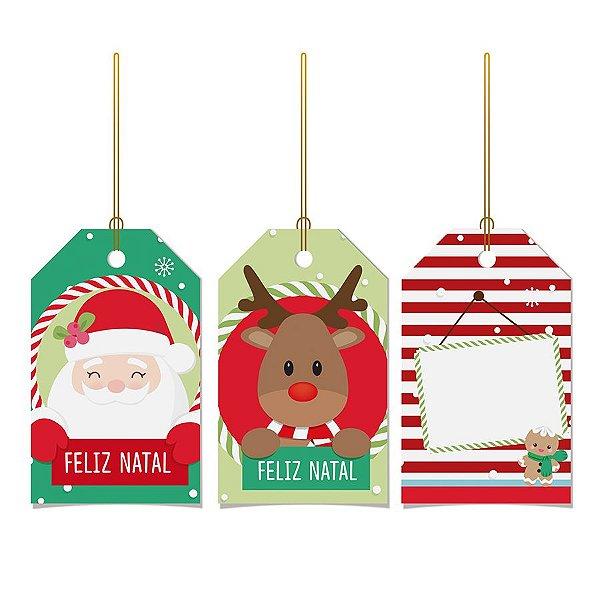 Tags De Para com cordão - Divertida - 12 unidades - Cromus Natal - Rizzo Embalagens