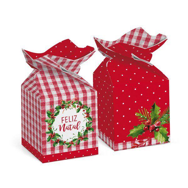 Caixa Trouxinha Decor Tradição 5,5x5,5x10,5cm - 10 unidades - Cromus Natal - Rizzo Embalagens