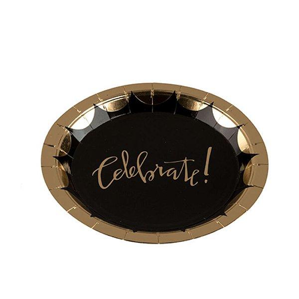 Prato Papel Biodegradável Celebrete Preto e Dourado - 10 un - 18 cm - Silver Festas