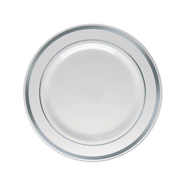 Prato Sobremesa Pequeno Borda Prata 15cm - 06 unidades - Descartáveis de Luxo SilverPlastic - Rizzo Festas