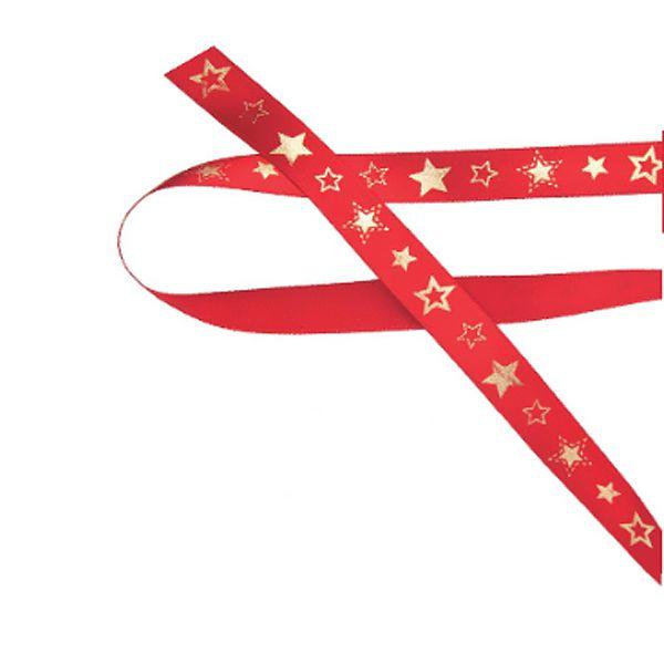 Fita de Natal em Cetim Vermelha Estrelas Ouro - 15mm x 10m - Progresso - Rizzo Embalagens e Festas