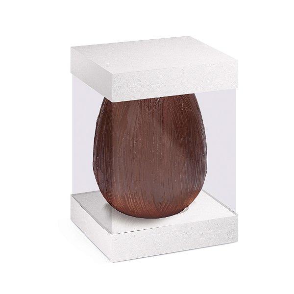 Caixa para Ovo em Pé com Visor e Berço 500g Branco - 10 unidades - 13,5x13,5x18,5cm - Cromus Profissional - Rizzo Embalagens