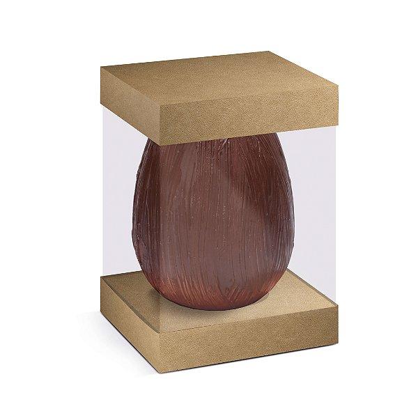 Caixa para Ovo em Pé com Visor e Berço 500g Kraft - 10 unidades - 13,5x13,5x18,5cm - Cromus Profissional - Rizzo Embalagens