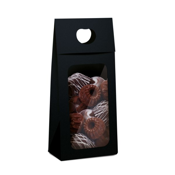Caixa New Plus para Chocolate com Visor Páscoa Preto - 10 unidades - 9x5,5x20cm - Cromus Profissional - Rizzo Embalagens