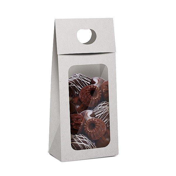 Caixa Plus para Chocolate com Visor Páscoa Branco - 10 unidades - 9x5,5x20cm - Cromus Profissional - Rizzo Embalagens
