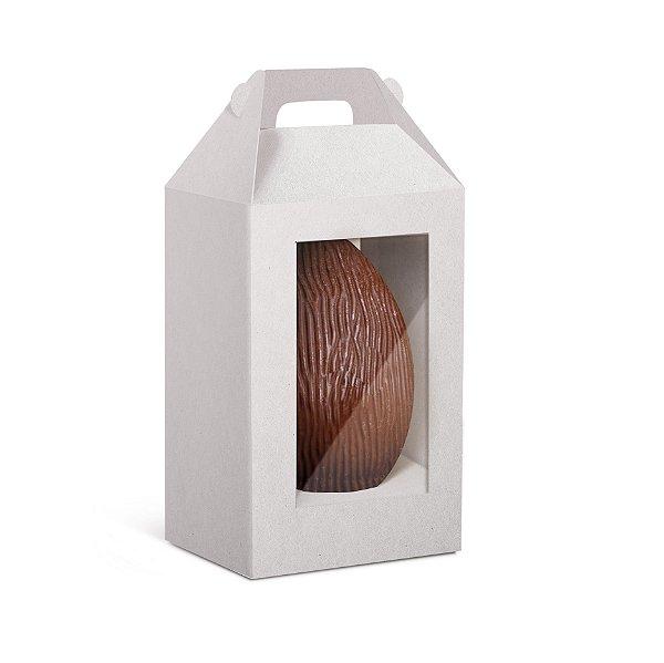 Caixa Maleta Ovo em Pé com 2 Visores Páscoa Branco - 10 unidades - Cromus Profissional - Rizzo Embalagens