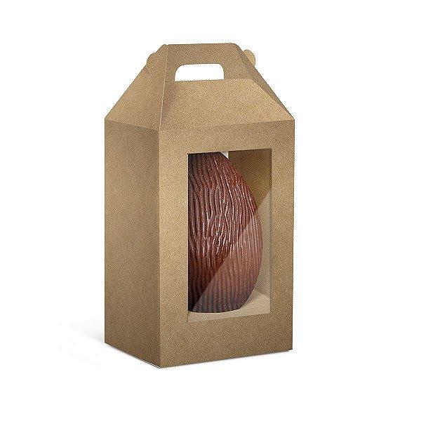 Caixa Maleta Ovo em Pé com 2 Visores Páscoa Kraft - 10 unidades - Cromus Profissional - Rizzo Embalagens