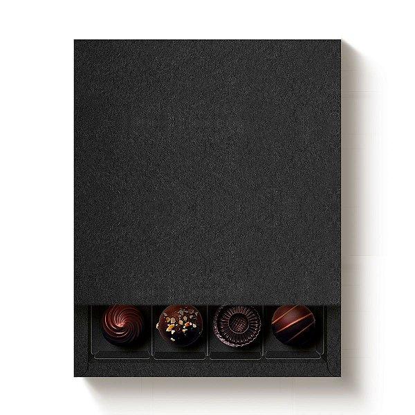 Caixa Quadrada para 16 Doces Preto com Luva - 10 unidades - 16,8x16,8x4cm - Cromus Profissional - Rizzo Embalagens