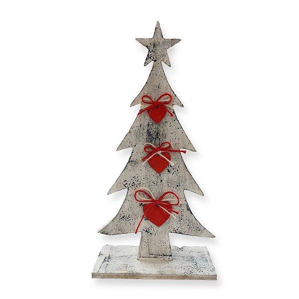 Enfeite de Madeira Pinheiro Rústico Corações Vermelhos 30cm - 01 unidade - Rizzo Embalagens