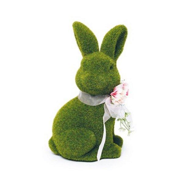 Coelho Sentado Verde Rústico Flor G - 25cm x 15m x 15cm - Linha Rústic - Cromus Páscoa Rizzo Embalagens