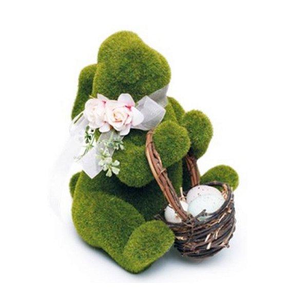 Coelho Sentado Verde Rústico Flor Cestinha - 25cm x 15cm x 20cm - Cromus Páscoa Rizzo Embalagens