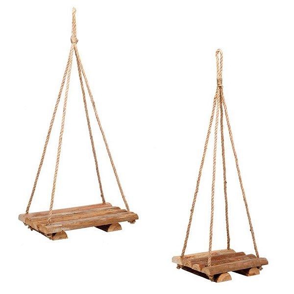 Balança Quadrada Decorativa em Madeira Rústica - Linha Rustic - Cromus Páscoa - Rizzo Embalagens