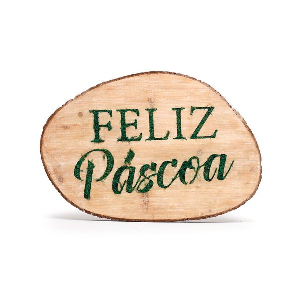Quadro Decorativo em Madeira Feliz Páscoa Verde Decoração de Páscoa Rústica - 50x35x5cm - Cromus Páscoa Rizzo Embalagens