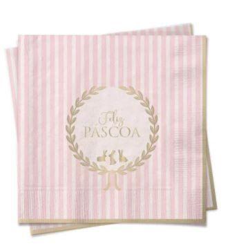 Guardanapo de Papel Rosa Pastel Listras Feliz Páscoa - 20 folhas - Cromus Páscoa - Rizzo Embalagens