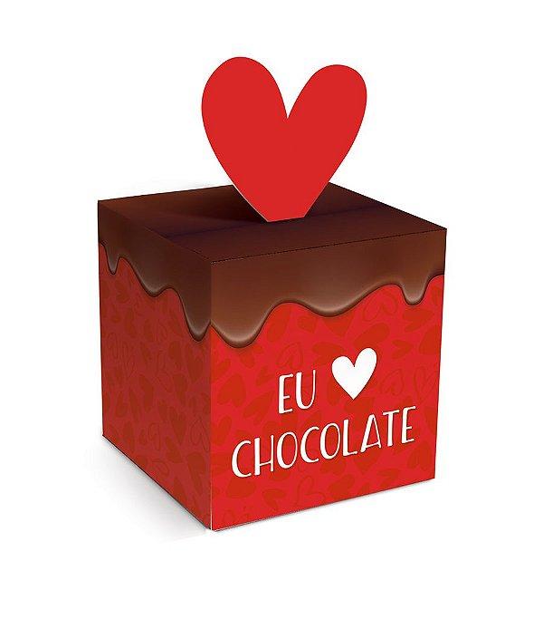 Caixa Pop Up Eu Amo Chocolate P 7x7x7cm - 10 unidades - Cromus Páscoa - Rizzo Embalagens