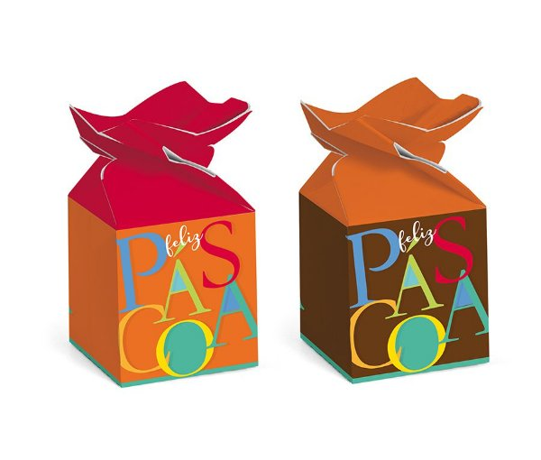 Caixa Trouxinha Páscoa Cores 5,5x5,5x10,5cm - 12 unidades - Cromus Páscoa - Rizzo Embalagens
