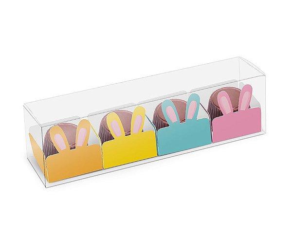 Caixa Clean 4 Doces com Forminha de Orelinha Páscoa Cores - 10 unidades - Cromus - Rizzo Embalagens