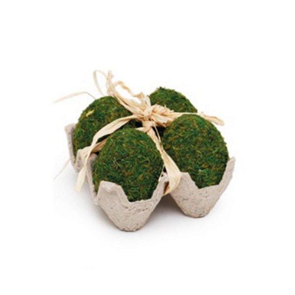 Bandeja com 4 Ovinhos de Musgo Verde Rústico - 5cm x 10m x 10cm - Linha Rústic - Cromus Páscoa Rizzo Embalagens