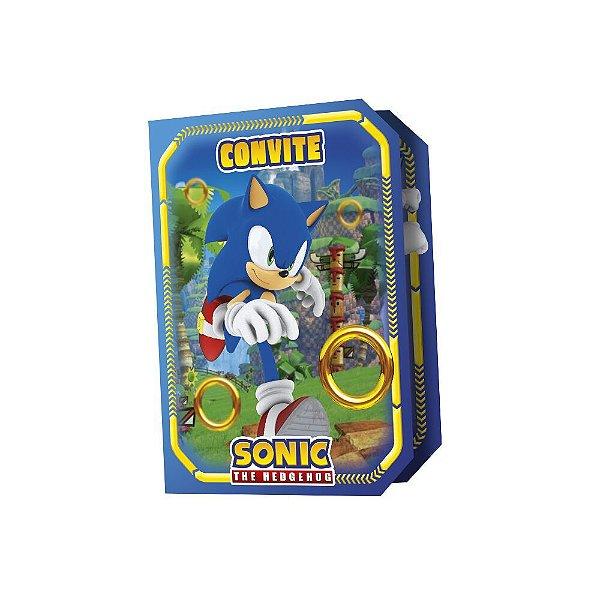 Convite Festa Sonic - 8 unidades - Regina Festas - Rizzo Embalagens e Festas
