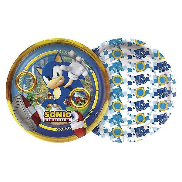 Prato Festa Sonic 18Cm - 8 unidades - Regina Festas - Rizzo Embalagens e Festas