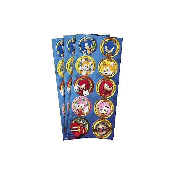 Adesivo Redondo para Lembrancinha Festa Sonic - 30 unidades - Regina Festas - Rizzo Embalagens e Festas