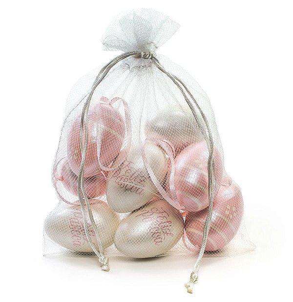 Ovo de Páscoa Decorativos no Saquinho Branco e Rosa Perolado Sortidos - 9 unidades - Cromus Páscoa - Rizzo Embalagens