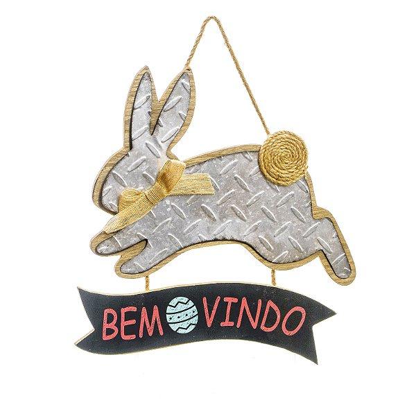 Placa Decorativa Coelho com Pompom de Juta Bem Vindo 36cm - 01 unidade - Cromus Páscoa - Rizzo Embalagens