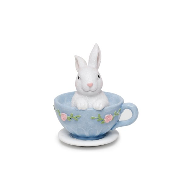 Coelho dentro da Xícara Azul e Branco - 10cm x 10cm x 10cm - 1 unidade - Cute Family - Cromus Páscoa - Rizzo Embalagens