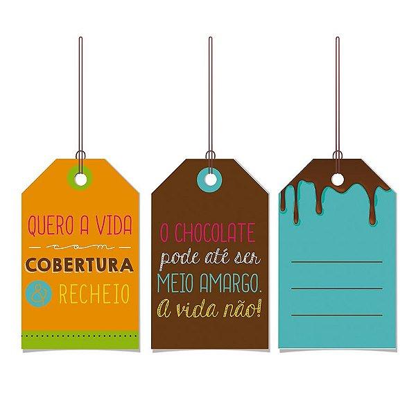 Tags De Para com cordão - Doce Vida - 12 unidades - Cromus Páscos - Rizzo Embalagens