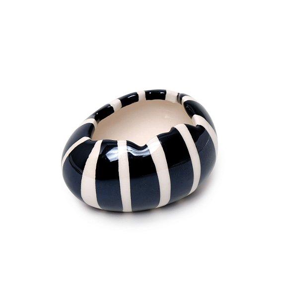 Ovo Decorativo Preto e Branco em Cerâmica - 5cm x 5cm x 10cm - 1 unidade - Pérola - Cromus Páscoa - Rizzo Embalagens