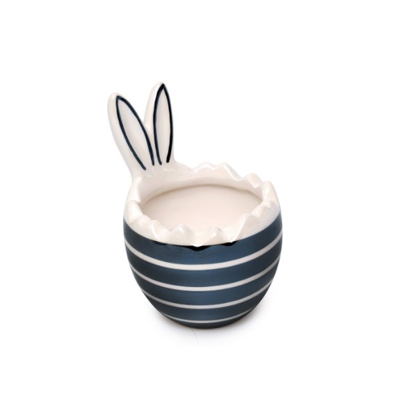 Meio Ovo Decorativo com Orelhas Branco e Preto com Tampa em Cerâmica - 15cm x 10cm x 10cm - 1 unidade - Pérola - Cromus