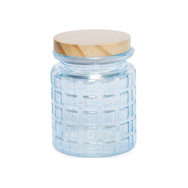 Pote de Vidro Azul Pastel Quadriculado P - 12x8x8cm - Linha Drops - Cromus Páscoa - Rizzo Embalagens