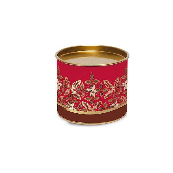 Lata para Bombons Vermelho e Dourado Linha Chocolate - 10x10x7cm - 01 unidade - Cromus Páscoa - Rizzo Embalagens