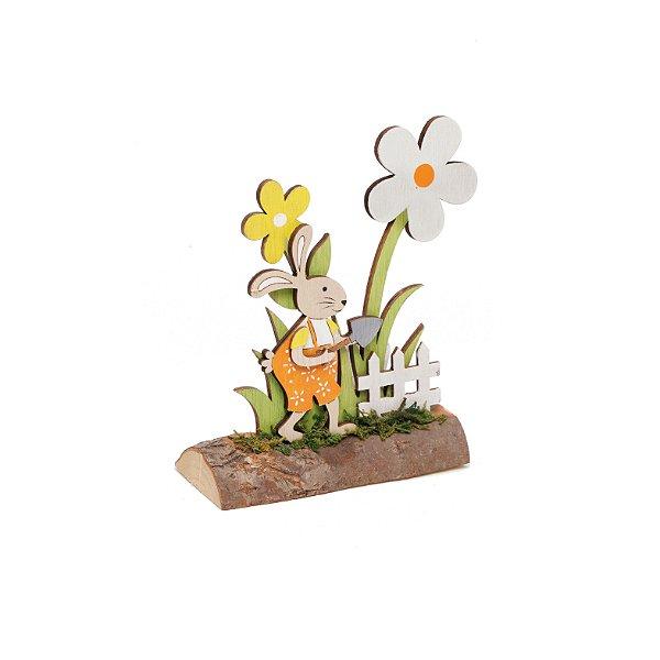 Coelho Com Flores Rústico Decorativo - 15cm x 15m x 5cm - Cromus Páscoa Rizzo Embalagens