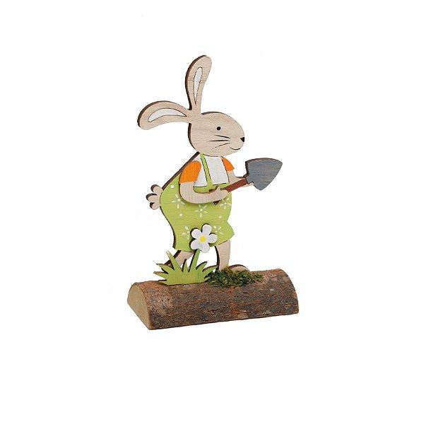 Coelho Jardineiro Rústico Decorativo - 15cm x 10m x 5cm - Cromus Páscoa