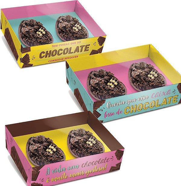 Caixa New Practice para Dois Meio Ovo Mini 50g 14,5x11x4cm Chocolate Sortido - 06 unidades - Cromus Páscoa - Rizzo Embalagens