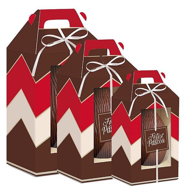 Caixa Maleta Vertical com Visor Douce Vermelho Marrom e Marfim - 06 unidades - Cromus Páscoa - Rizzo Embalagens