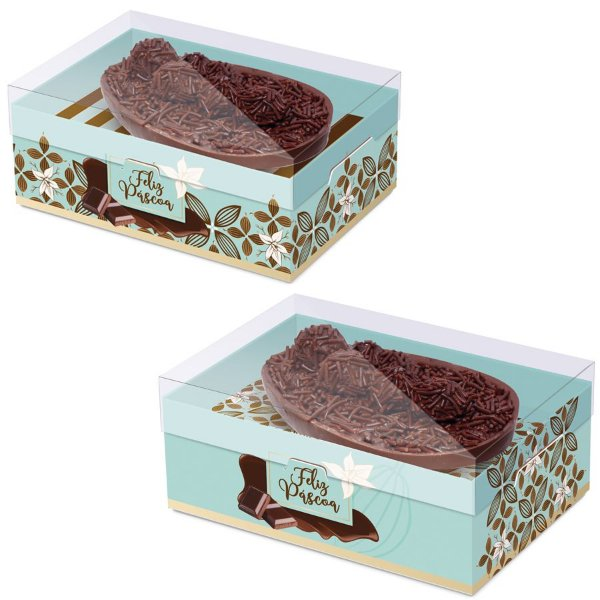 Caixa New Practice com Regulagem de Altura Meio Ovo Flor de Cacau Turquesa Sortido- 06 unidades - Cromus Páscoa - Rizzo Embalagens