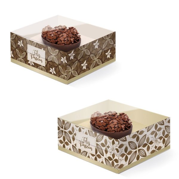 Caixa New Practice Meio Ovo Mini 50g 11,5x9x5,5cm Chocolate Composê - 06 unidades - Cromus Páscoa - Rizzo Embalagens
