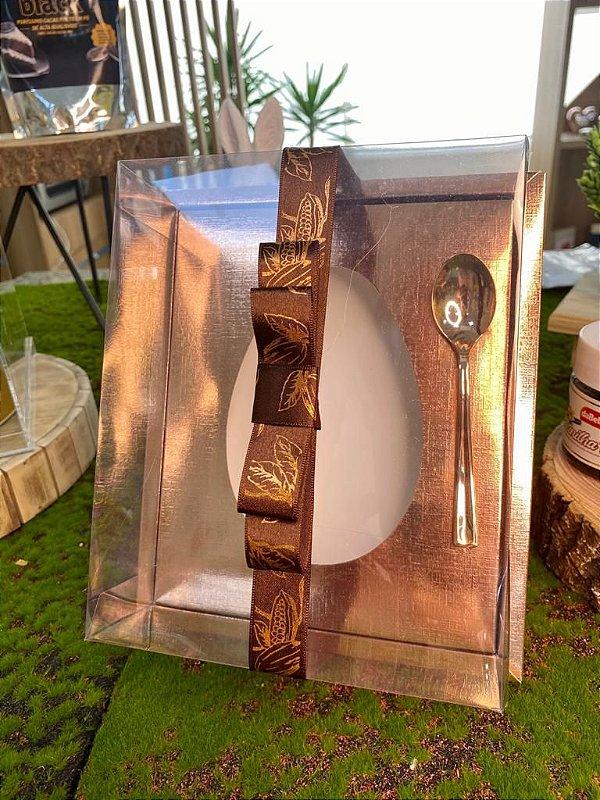 Caixa Ovo de Colher com Moldura - Meio Ovo de 250g - 20cm x 15,5cm x 10cm - Rosê - 05 unidades - Assk - Páscoa Rizzo Embalagens