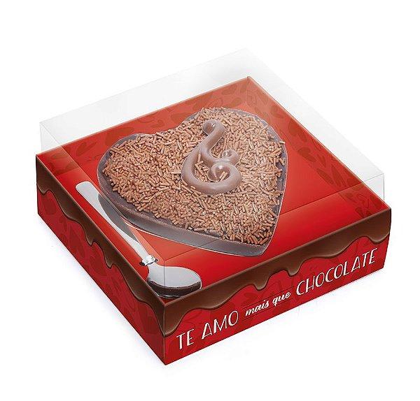 Caixa para Meio Coração de Chocolate 250g 12,8x12,5x8cm Amo Chocolate - 06 unidades - Cromus Páscoa - Rizzo Embalagens